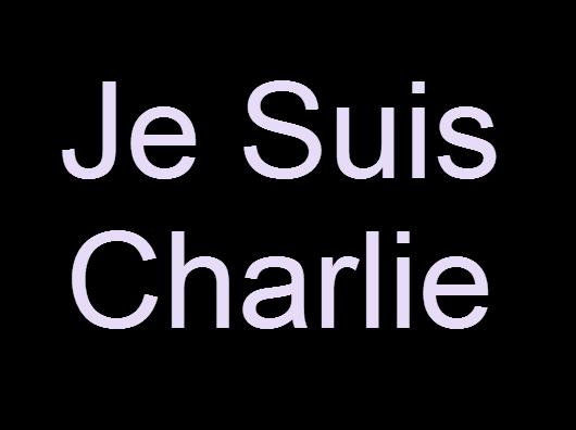 """Je Suis Charlie"" - white letters on black background."