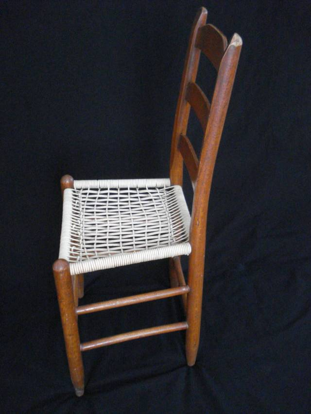 Side view of ladder-back chair looking down on it, photo by Mary Warner, February 2015.