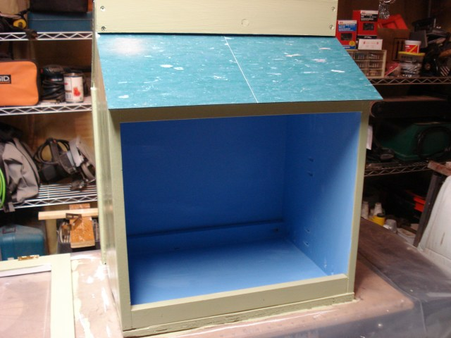 Watching the paint dry on my Little Free Library, May 2015.