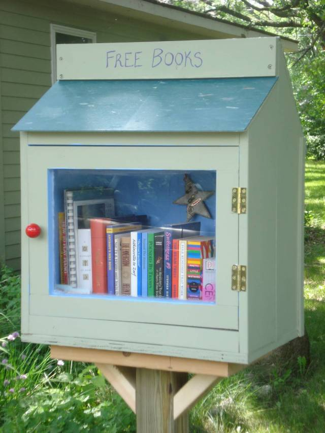 Our Little Free Library filled with books, June 10, 2016. Photo by Mary Warner.