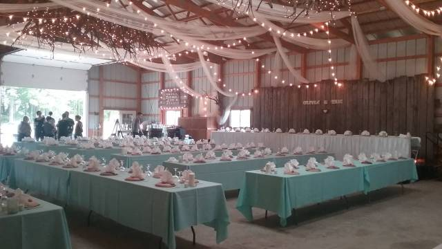 The shed/barn all decorated for Liv and Eric's wedding reception. September 10, 2016.