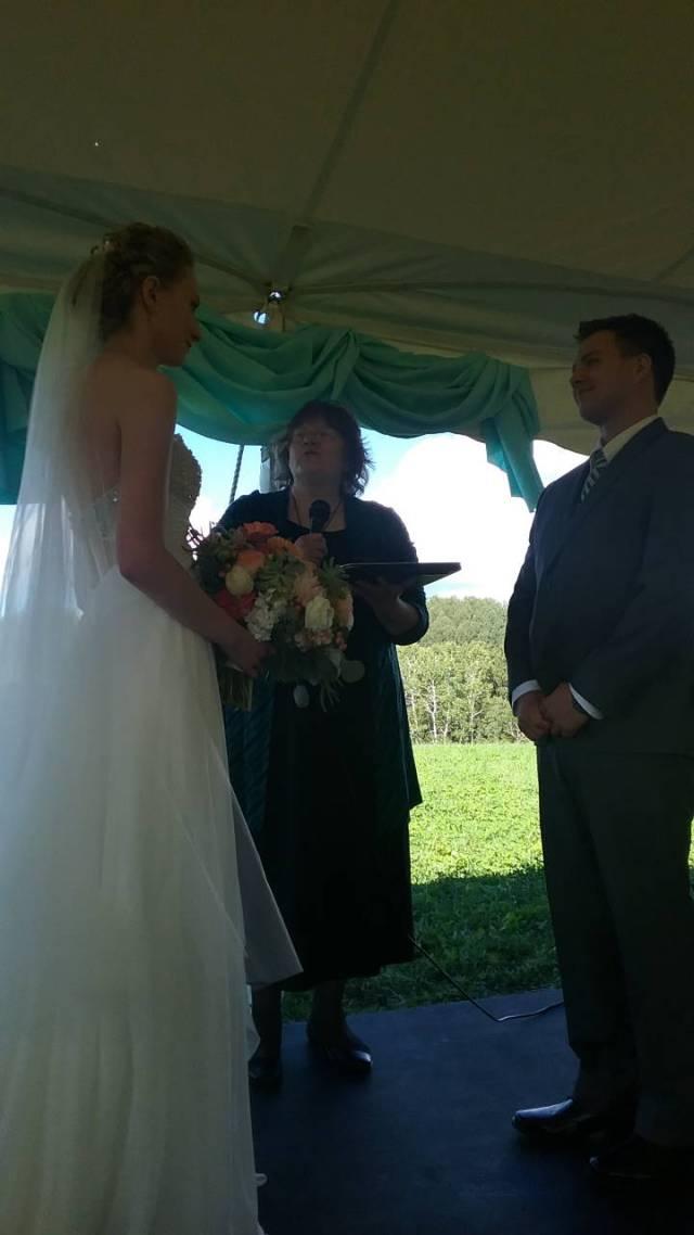 Olivia & Eric getting married. Jill Warner, My Erik's sister, is officiating. September 10, 2016.