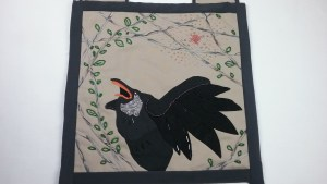 Corvid bag, pouch, applique and bead applique, by Mary Warner, 2017.