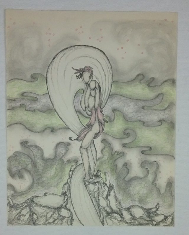 Woman stranded on rock, inspired by the art of Erte, by Mary Warner.