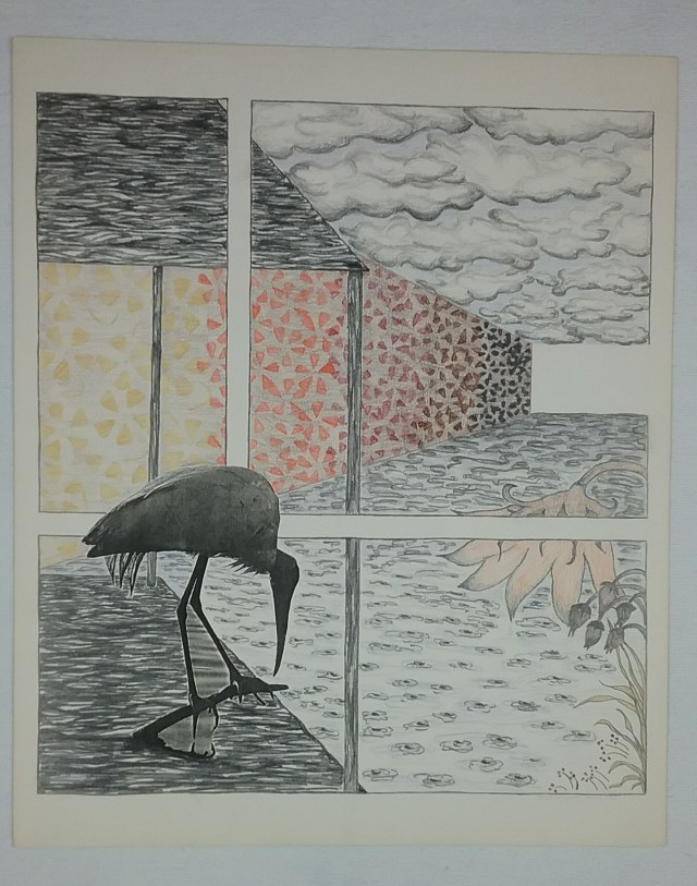 Heron with floral wall by Mary Warner, part of a series using a photocopy of a heron.
