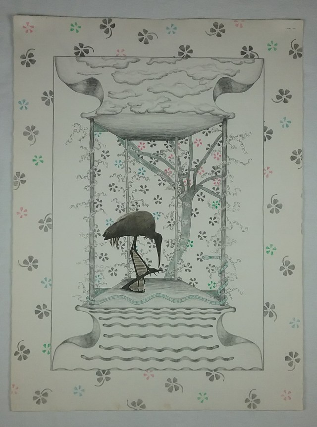 Heron with floral border by Mary Warner.