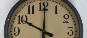 Closeup of The Standard Electric Time Company, Springfield, Massachusetts, wall clock, set at 10 o'clock, 2018.