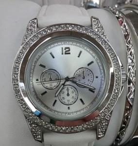 Fancy silver sparkly wristwatch, 2018.