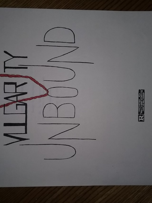 """Cover to """"Vulgarity Unbound,"""" a paper I wrote for an English class in college. I have long been fascinated by profanity. Note the """"R"""" rating I inserted."""