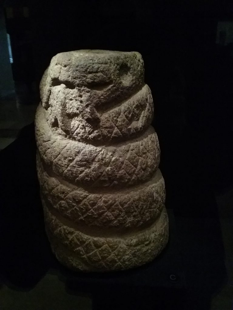 """Aztec carving of """"One Rabbit,"""" Exploring the Early Americas exhibit, Library of Congress, Thomas Jefferson Building, Washington DC, 2019."""