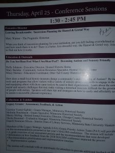 """My Leaving Breadcrumbs session in the MALHM conference guide, 2019. Note that I wrote """"Bear"""" next to the session, not because suddenly the Hansel & Gretel story was inhabited by bears but because the session was held in the Bear room at Treasure Island."""