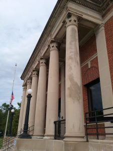 U.S. Post Office, front columns, Little Falls, MN, 2019.