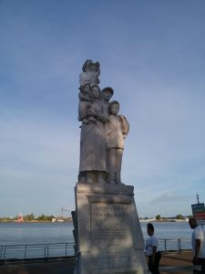Monument to the Immigrant on the river walk in New Orleans, Louisiana, August 2019. Loads of text around the base of this statue explains who these immigrants are and who had the statue erected. Groups dedicated to Italian, Jewish, German, and Irish heritage were involved. Contrary to the anti-immigrant desires of those politicians currently in charge of our country, most people believe in the ideals of a melting pot made up of people from all over the globe, which is the point of this statue.