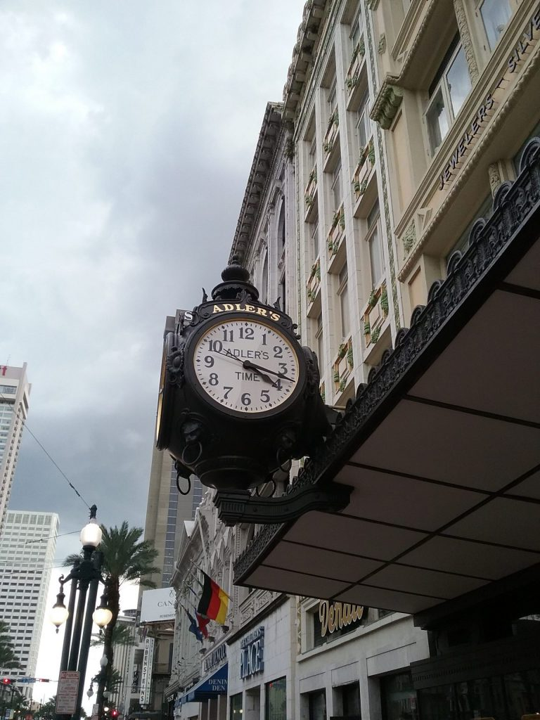 Adler's Time clock on Canal Street, New Orleans, Louisiana, August 2019.