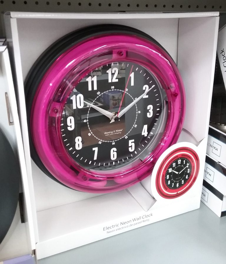 Sterling and Noble Electric Neon Wall Clock, 2018.
