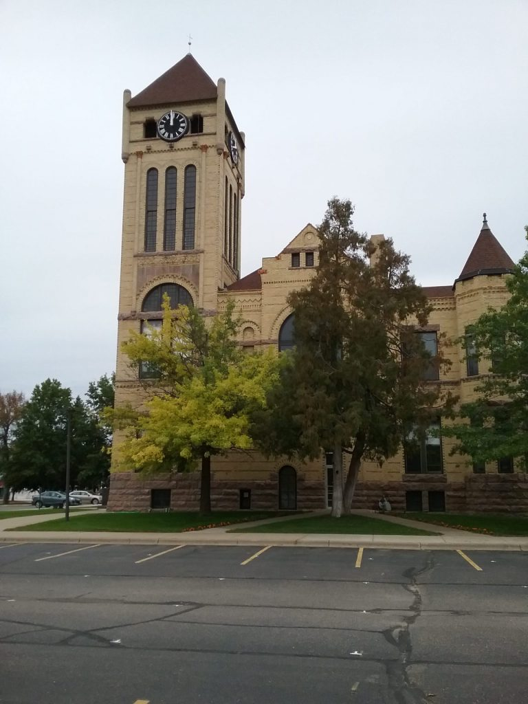 """The clock tower of the Morrison County Courthouse in Little Falls, MN, was a popular place to take """"aerial"""" photos of the city because of its high vantage point. Mary Warner, 2019."""