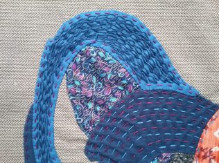 Rooster tail, fiber art applique & embroidery by Mary Warner, 2020.