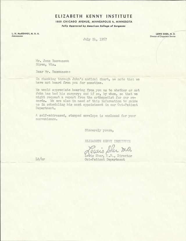 Letter from the Elizabeth Kenny Institute inquiring as to whether John Rasmussen had a follow-up surgery related to his polio, July 24, 1957.