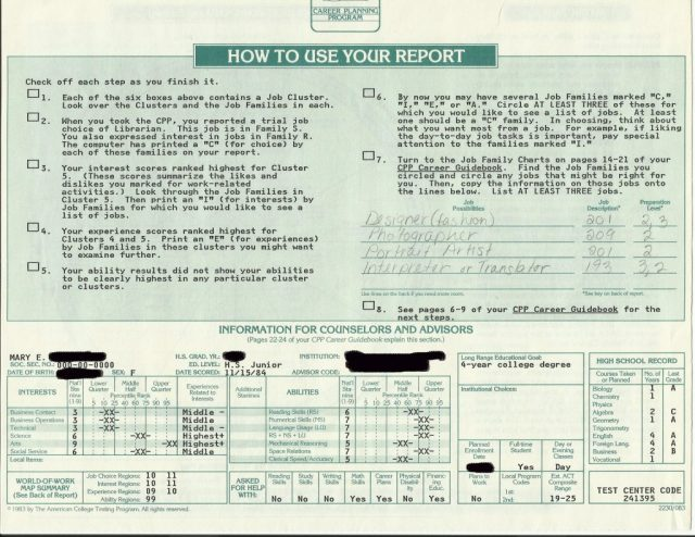 Mary's Career Planning Report, page 2, 1984.