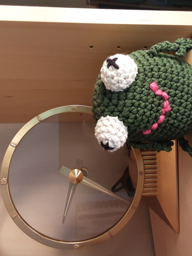 Amigurumi frog by Mary Warner. I made this years ago from a pattern I probably found online, but I don't remember the original source.