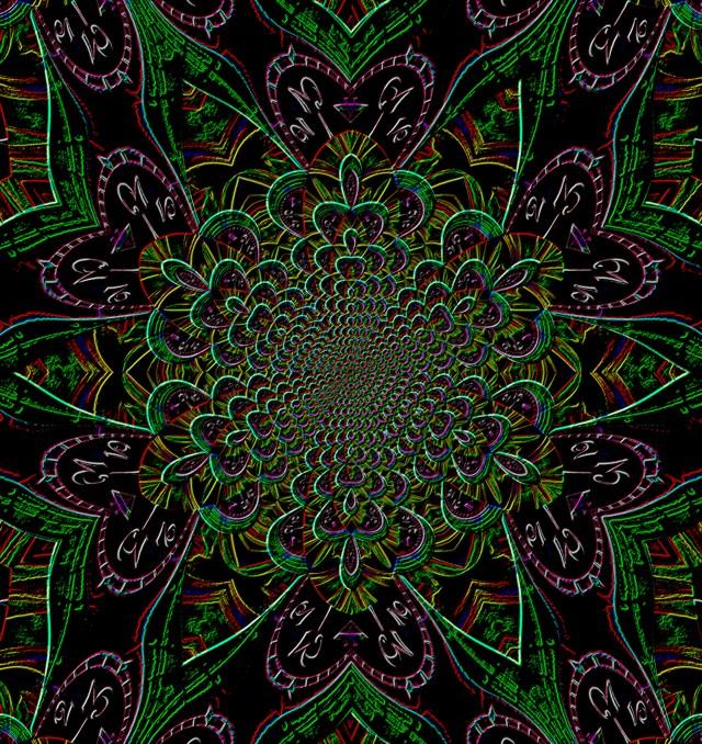 Clock mandala in green & purple, Mary Warner, June 21, 2020.