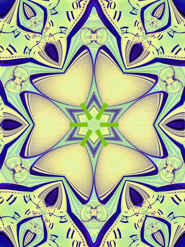 Reflective Clocks Becomes Floral Mandala by Mary Warner, September 2020.