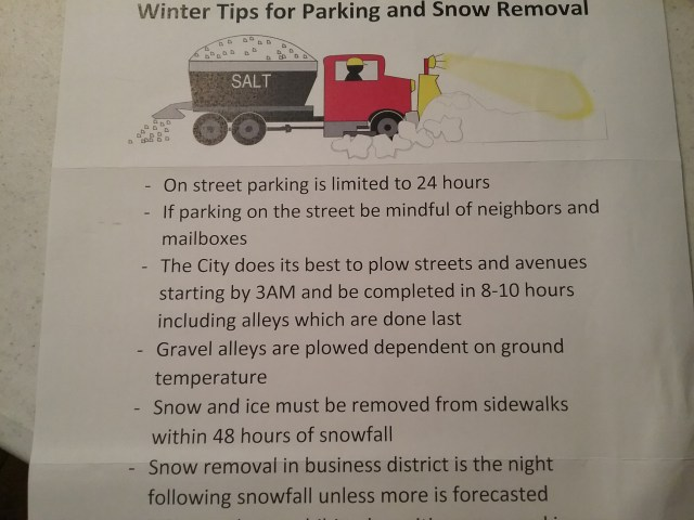 """Winter Tips for Parking and Snow Removal,"" November 2020."