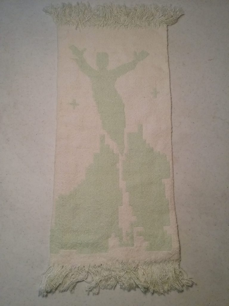 """""""Soul Ascending,"""" double-sided weaving in pale green & white, by Mary Warner, early 1990s."""