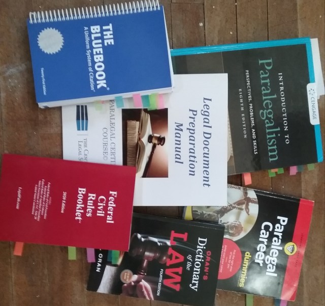 Textbooks from Paralegal Certificate Course offered by CLS by Barbri: Federal Civil Rules Booklet by LegalPub.com (2020); Daniel Oran, Oran's Dictionary of the Law (4th ed. 2008); William P. Statsky, Introduction to Paralegalism: Perspectives, Problems, and Skills (8th ed. 2016); Margaret J. Kirk, ACP, Paralegal Certificate Course Workbook, The Center for Legal Studies (2010); The Bluebook: A Uniform System of Citation (Columbia L. Rev. Ass'n et al. eds., 21st ed. 2020); and Scott A. Hatch, JD, & Lisa Zimmer Hatch, MA, Paralegal Career for Dummies (2d ed. 2019).
