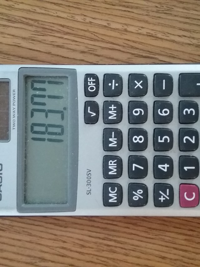 Casio SL-300SV Two Way Power calculator with solar power, photo by Mary Warner, September 21, 2021.