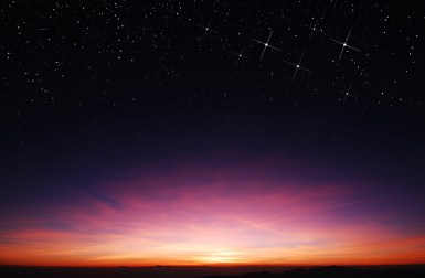 sunset and stars