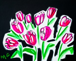 Neon Tulip, 16 x 20, acrylic on canvas