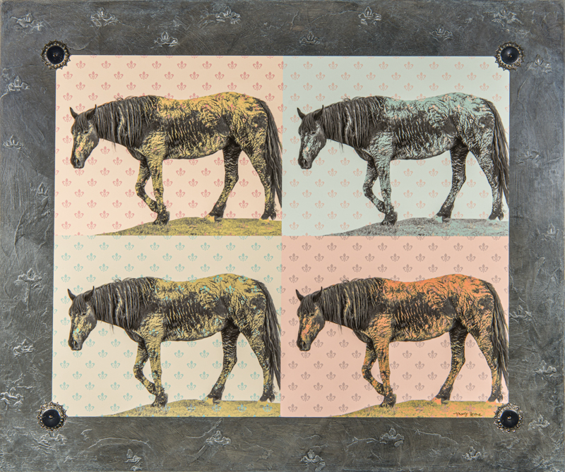 mixed media, fine art, art, wild horses