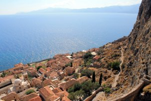 Looking down at the new town from the Monemvasia Castle.