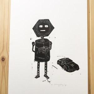 Robot RC Linocut Print