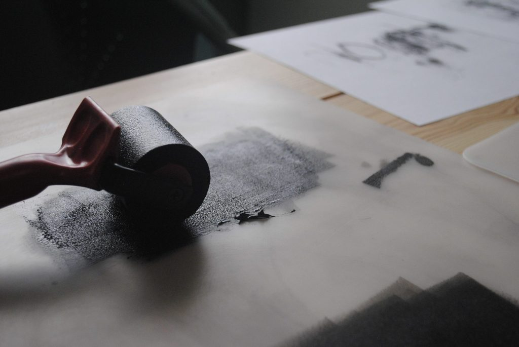 Brayer with ink