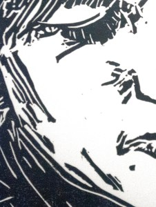 Clearing out an image in a linocut