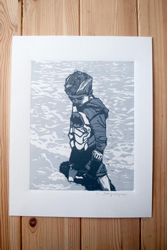 Linocut - Boy in the Water