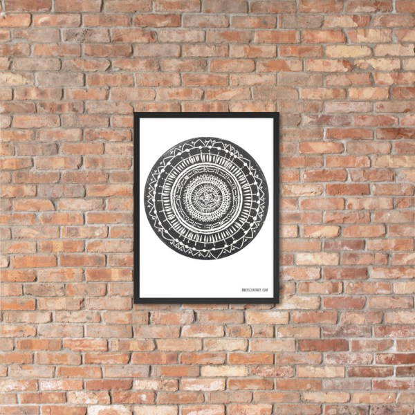 This is an image of a black mandala printed on white paper. It is made to order.