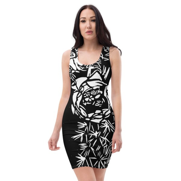 cactus bloom black dress
