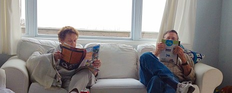 The grandparents relaxing.