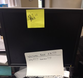 Back to work for both of us.. but with some great notes on our desks...