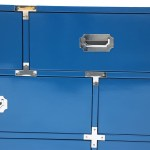 Bernhardt Mid Century Blue Campaign Dresser Credenza