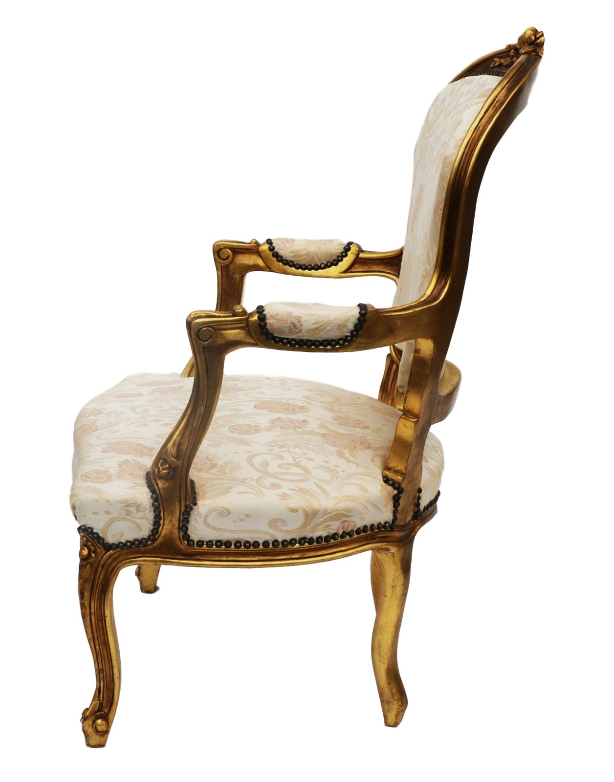 French Louis XV Style Carved Gilt Wood Fauteuil Arm Chair