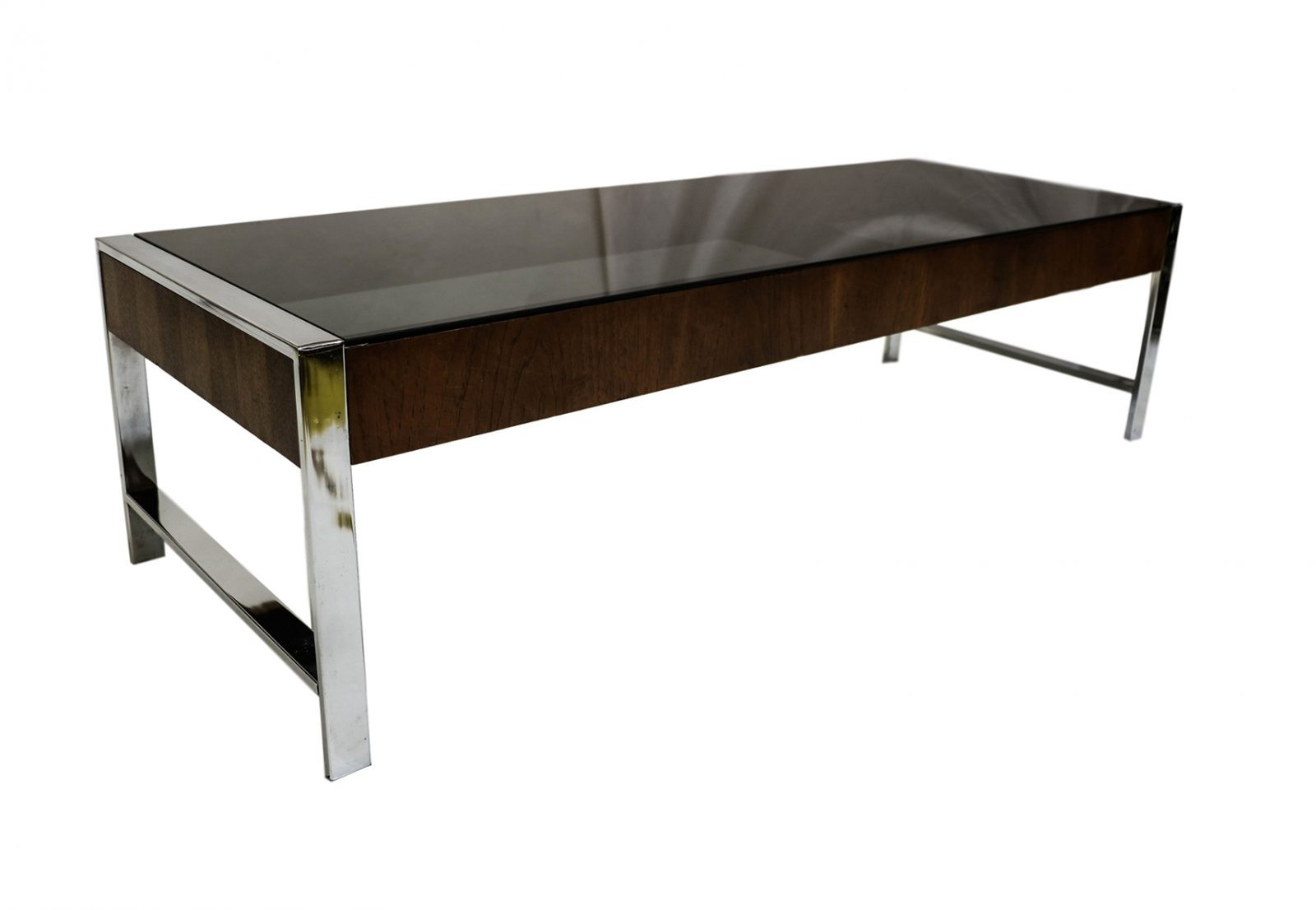 Mid Century Chrome Smoked Glass Coffee Table Milo Baughman