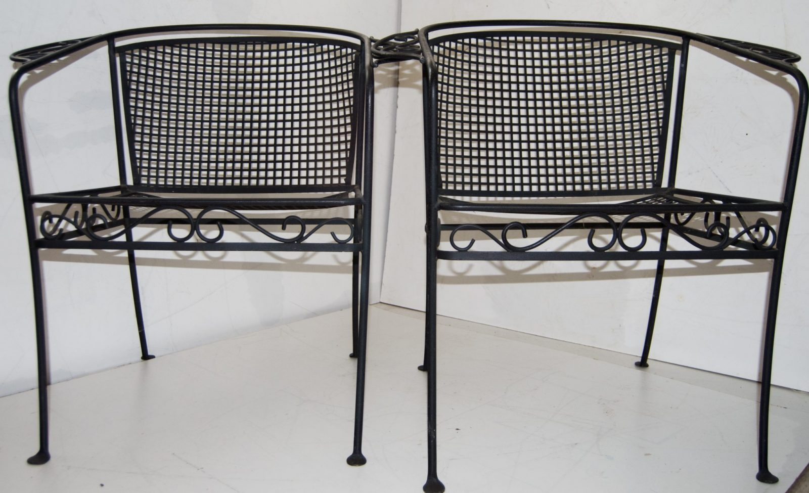 Vintage Pair Of Iron Patio Arm Chairs
