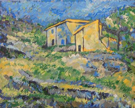 Reproduction of Cezanne's Houses at L'Estaque using data analysis to imitate exact brushstrokes by 1st-prize-winning CloudPainter (Credit: CloudPainter)