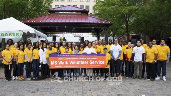 world mission society church of god, wmscog, church of god, church of god in maryland, rockville town center, ms walk, yellow shirt volunteers
