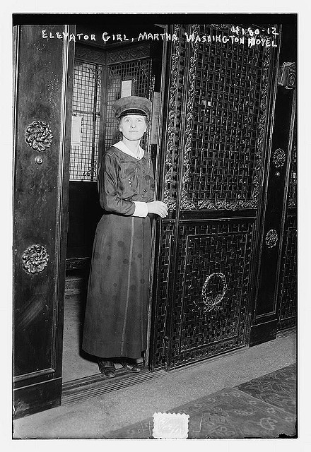 Pitching and elevator girl, Martha Washington Hotel (LOC)