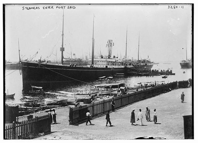 Steamers enter Port Said (LOC)